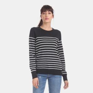 Gap Cotton Crew Neck Striped Sweater Black Small